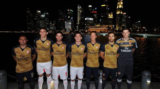 Jersey Arsenal terlihat Mewah dengan Warnah Gold